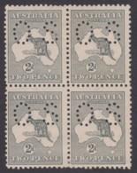 Australia 1915 Kangaroo 2d Grey 3rd Wmk Die 1 Perf OS Block Of 4 MH - Mint Stamps