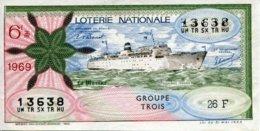 """BILLET DE LOTERIE De 1969 Sur Le Thème """"La Marine : PAQUEBOT AVENIR"""" - Billets De Loterie"""
