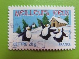 """Timbre France YT 3856 - """"Meilleurs Voeux"""" - Manchots Avec Boules De Neige - 2005 - Cachet Rond - Usados"""
