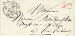 1839- Lettre D' ORGELET  ( Jura )  Cad T12  +  P.P.  Rouge - 1801-1848: Précurseurs XIX