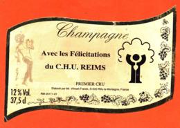 étiquette De Champagne Brut Avec Les Félicitation Du C.H.U De Reims Frank Vilmart à Rilly La Montagne- 37,5 Cl - Champagne