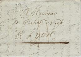 1821- Lettre De 38 / SALINS  ( Jura )  25 X 9 1/2 Mm  Noir Taxe 4 D Pour Lyon - 1801-1848: Précurseurs XIX