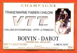 étiquette De Champagne Brut Trans'marne VTT Fabien Ghiloni Boivin Dabot à Moussy - 75 Cl - Cyclisme