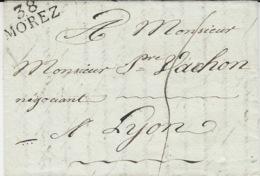1818- Lettre De 38 / MOREZ ( Jura )  24 X 10 Mm  Noir Taxe 5 D Pour Lyon - 1801-1848: Précurseurs XIX