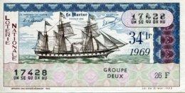 """BILLET DE LOTERIE De 1969 Sur Le Thème """"La Marine : FRANCE 1855"""" - Billets De Loterie"""