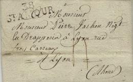 1820- Lettre De 38 / ST AMOUR ( Jura )  37 X 10 Mm  Noir Taxe 4 D Pour Lyon - 1801-1848: Précurseurs XIX