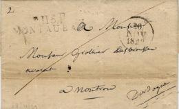 1829- Lettre De P.115.P / MONTAUBAN ( Tarn Et Garonne ) 49 X 11 Mm Noir - 1801-1848: Précurseurs XIX