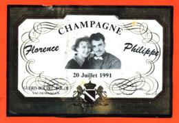 étiquette De Champagne Brut Mariage Florence Philippe 20 Juillet 1991 Guérin Bocart à Vaudemanges- 75 Cl - Champagne