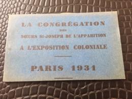 CARNET DE 6 CARTES POSTALES DE LA CONGREGATION DES SOEURS ST JOSEPH DE L'APPARITION A L'EXPOSITION COLONIALE PARIS 1931 - Exhibitions