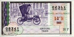 """BILLET DE LOTERIE De 1969 Sur Le Thème """"L'Automobile : DECAUVILLE 1898 """" - Billets De Loterie"""