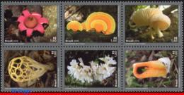 Ref. BR-V2019-08 BRAZIL 2019 FLOWERS, PLANTS, DIVERSITY OF FUNGI,, MUSHROOMES, MERCOSUL SERIES, SET MNH 6V - Brésil