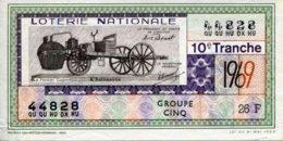 """BILLET DE LOTERIE De 1969 Sur Le Thème """"L'Automobile : LE FARDIER CUGNOT """" - Billets De Loterie"""