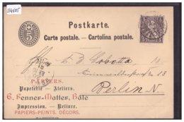 BASEL - GANZSACHE - PAPETERIE RENNER-MATTER - ENTIER POSTAL - B ( PLI D'ANGLE ) - BS Bâle-Ville