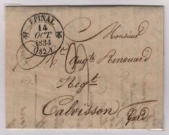 EPINAL (Vosges) Càd Type 12, 14 Octobre 1834, Pour Calvisson, Taxe Manuscrite 9 Décimes - 1801-1848: Précurseurs XIX