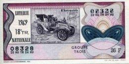 """BILLET DE LOTERIE De 1969 Sur Le Thème """"L'Automobile : DE DION-BOUTON POPULAIRE 1903"""" - Billets De Loterie"""