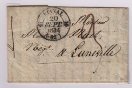 EPINAL (Vosges) Càd Type 12, 20 Septembre 1834, Pour Lunéville, Taxe Manuscrite 3 Décimes - 1801-1848: Précurseurs XIX