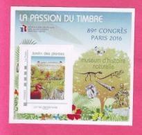 BLOC FFAP 2016 N°11 LA PASSION DU TIMBRE PARIS 89° CONGRES MUSEUM D'HISTOI INCLUS TP PERSONNALISE JARDIN DES PLANTES - FFAP