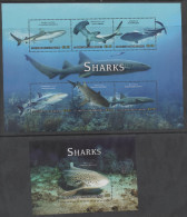 ST. VINCENT,2015, MNH,MARINE LIFE,  SHARKS, PART II SHEETLET+ S/S, - Marine Life
