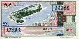 """BILLET DE LOTERIE De 1969 Sur Le Thème """"L'Aviation : MUREAUX 117"""" - Billets De Loterie"""