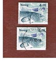 NORVEGIA (NORWAY) -   SG 1334   -  1999 FISHES  & FISHING FLIES: GADUS MORHUA (2  DIFFERENT PERFORATIONS)    - USED° - Norvegia