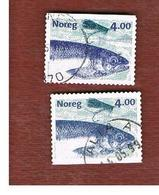 NORVEGIA (NORWAY) -   SG 1333   -  1999 FISHES  & FISHING FLIES: SALMO SALAR (2  DIFFERENT PERFORATIONS)    - USED° - Norvegia