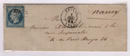 EPINAL (Vosges) PC 1187 + Càd Type 15, 1 Décembre 1854, Pour Nancy - 1849-1876: Période Classique