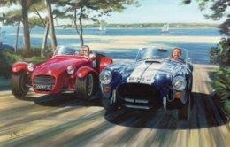 AC Cobra Et Lotus Seven  -  Bassin D'Arcachon   -  Art Carte Par Benjamin Freudenthal - Voitures De Tourisme