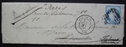 Poitiers 1874 Lettre De La Faculté Des Lettres, Pour L'Indre Et Loire Redirigée Pour Paris (cachets Au Revers) - 1849-1876: Periodo Clásico
