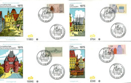 07606) BRD - Mi 860 / 863 - 4 FDC - Denkmalschutzjahr 75 - [7] República Federal
