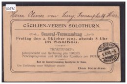 SOLOTHURN - CÄCILIEN VEREIN - GENERAL VERSAMMLUNG 1903 - B ( MINI PLI D'ANGLE ) - SO Solothurn