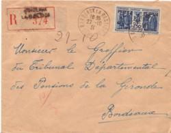 FRANCE : 1931 - Lettre Recommandée De Bordeaux-la-Bastide Pour Bordeaux - France