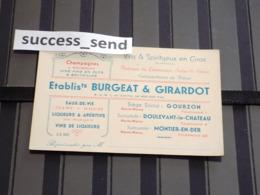 CARTE DE VISITE BURGEAT & GIRARDOT à GOURZON Doulevant Montier-en-Der Haute-Marne. Champagnes Vins... - Cartes De Visite