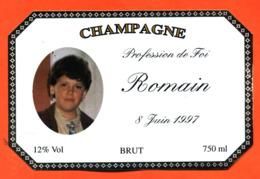 étiquette De Champagne Brut Profession De Foi Romain 8 Juin 1997 - 75 Cl - Champagne