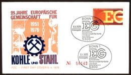 07613) BRD - Mi 880 - FDC - 40Pf                   25 Jahre Europäische Gemeinschaft EGKS - [7] República Federal