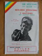 Club Motocycliste Sucéen. Moto-Cross International Des 7 Nations. 25 Juillet 1954, Aux Buttes De La Rivière - Programmes