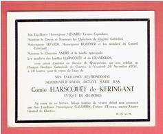 CHARTRES FAIRE PART DECES MONSEIGNEUR HARSCOUET EVEQUE DE CHARTRES 1954 CARTE EN TRES BON ETAT - Chartres