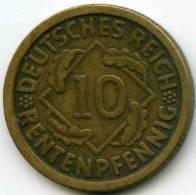 Allemagne Germany 10 Rentenpfennig 1924 J J 309 KM 33 - [ 3] 1918-1933 : Repubblica Di Weimar