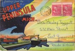 33980. Bloc De Postales CHEBOYGAN (Michigan) 1953. Vistas Upper Peninsula. Greeting - Cartas