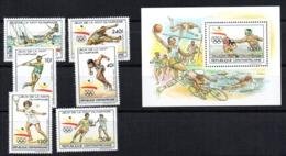 Serie Nº  Yvert 831-34 + A 394-95 + Block 103 Centroafrica - Verano 1992: Barcelona