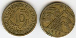 Allemagne Germany 10 Reichspfennig 1924 A J 317 KM 40 - 10 Rentenpfennig & 10 Reichspfennig