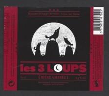 Etiquette De Bière Ambrée  - Les 3 Loups  -  Brasserie Henriet Benoist à Trelou Sur Marne (02) - Bière