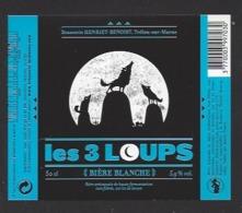 Etiquette De Bière Blanche  - Les 3 Loups  -  Brasserie Henriet Benoist à Trelou Sur Marne (02) - Bière