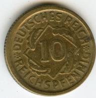 Allemagne Germany 10 Reichspfennig 1924 D J 317 KM 40 - 10 Rentenpfennig & 10 Reichspfennig