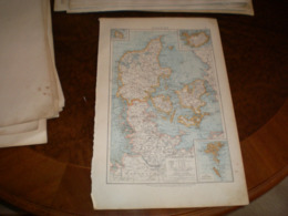 Danemark Volks Und Familien Atlas A Shobel Leipzig 1901 Big Map - Geographical Maps