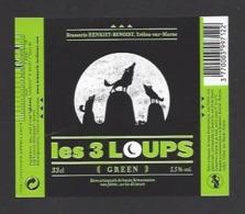 Etiquette De Bière Green  - Les 3 Loups  -  Brasserie Henriet Benoist à Trelou Sur Marne (02) - Bière