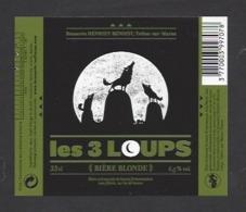 Etiquette De Bière Blonde  - Les 3 Loups  -  Brasserie Henriet Benoist à Trelou Sur Marne (02) - Bière