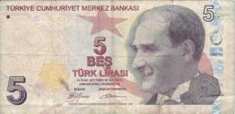 Banconota  Da  5   TURK  LIRASI  -  TURCHIA  - Anno  1970. - Turchia