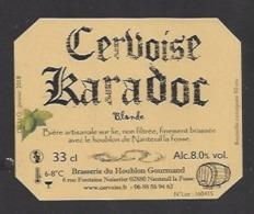 Etiquette De Cervoise Blanche - Karadoc -  Brasserie Du Houblon Gourmand à Nanteuil La Fosse  (02) - Bière