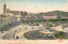 Espagne - Malaga - Plaza Suarez Y Catedral - Málaga