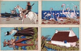 93Maj   Illustrateur Lot De 4 Cpa Camargue Gardian Flamands Cabane - Illustrateurs & Photographes